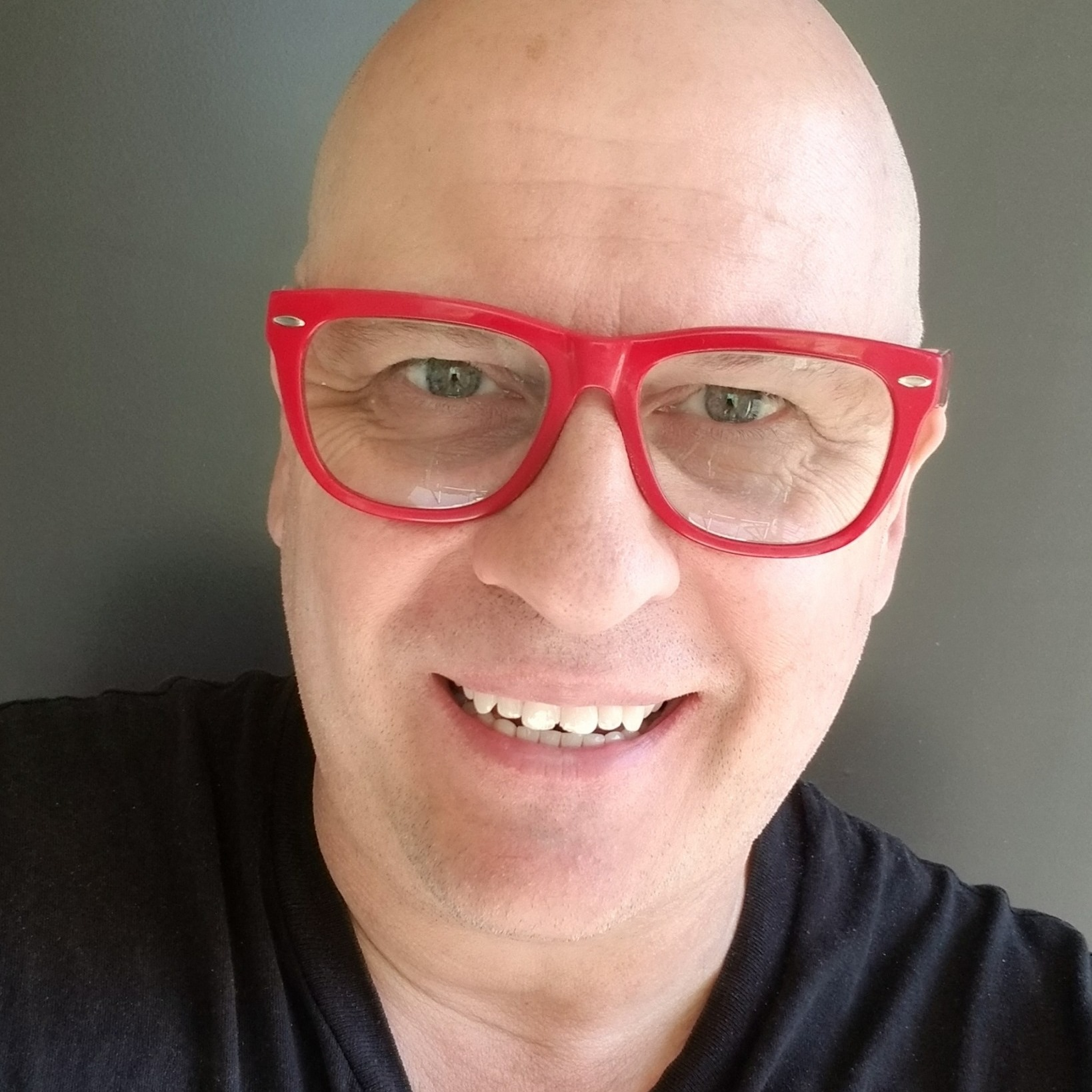 Photo of Wayne Wallace with Red Glasses